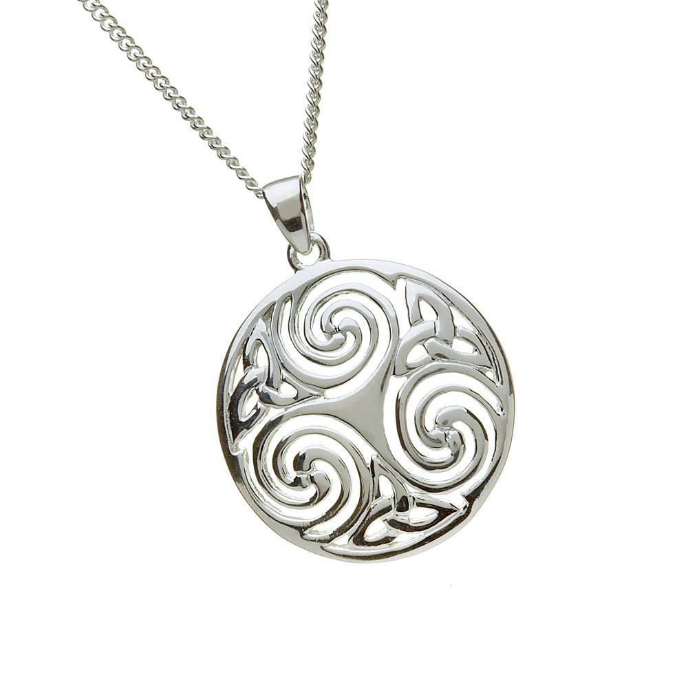 "Silver Celtic Round  18"" Pendant"