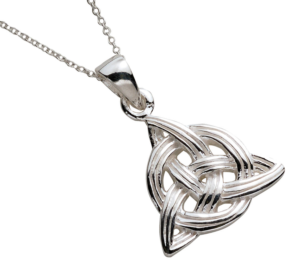 Silver Trinity Knot With Circle Through Pendant