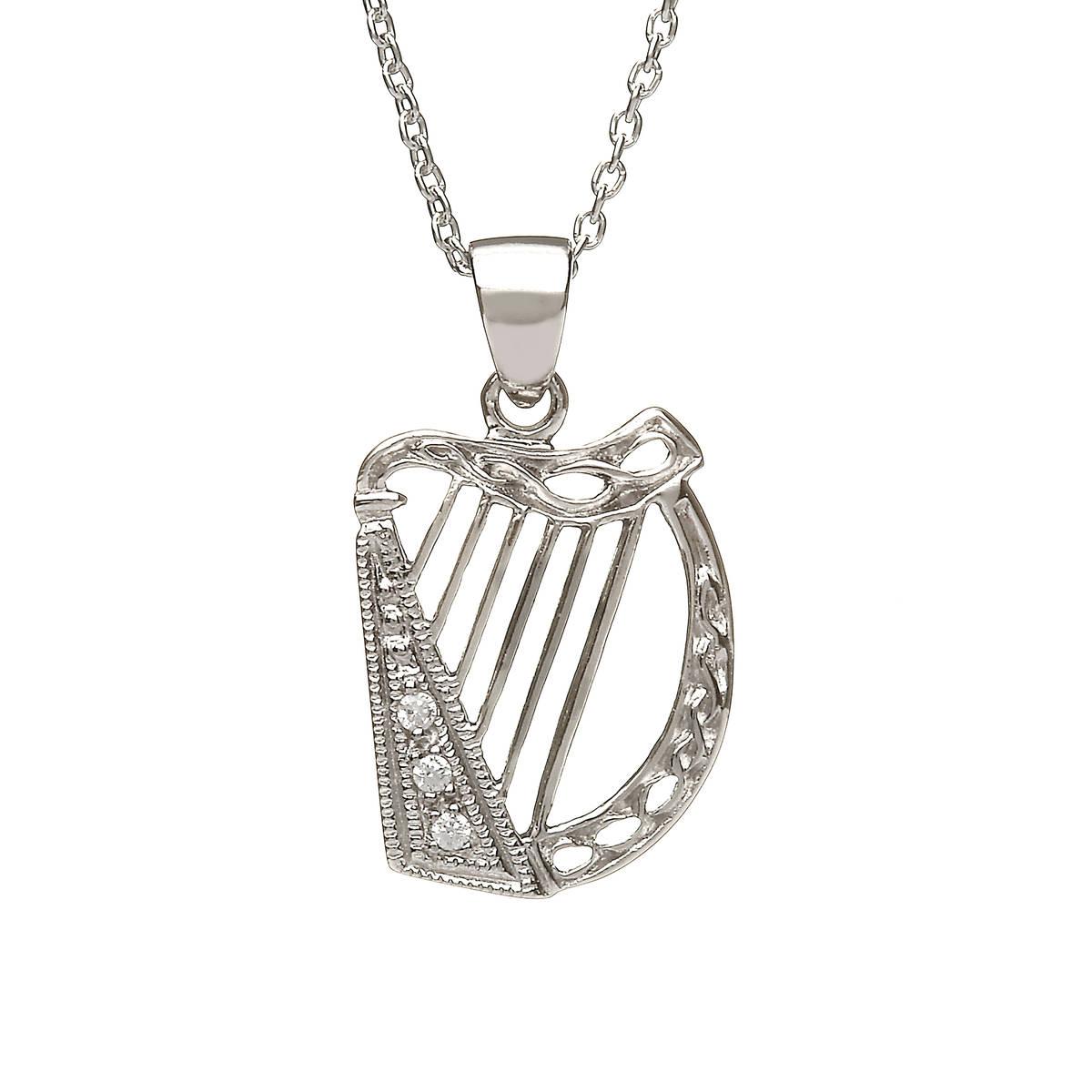 Silver Cz Harp Pendant
