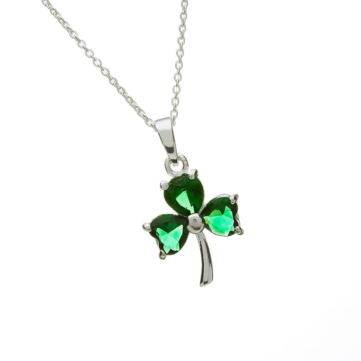 Silver Green Stone Shamrock Pendant