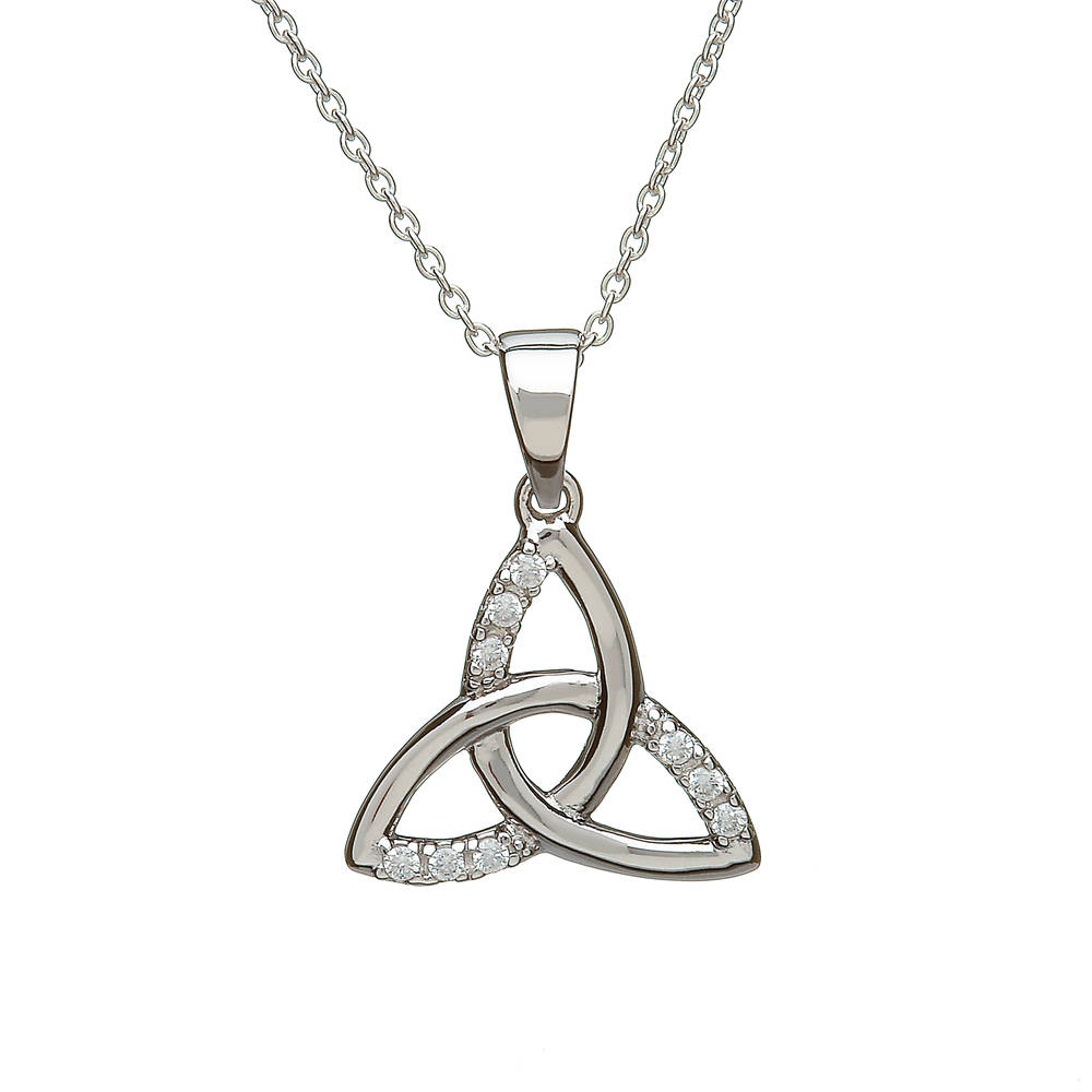 Silver Part Cz Trinity Knot Pendant
