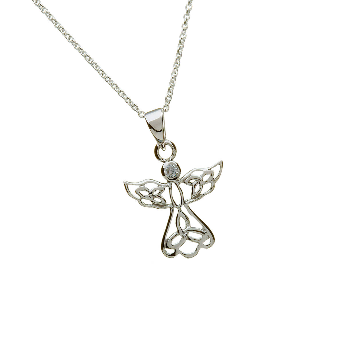 Silver Celtic Angel With Cz