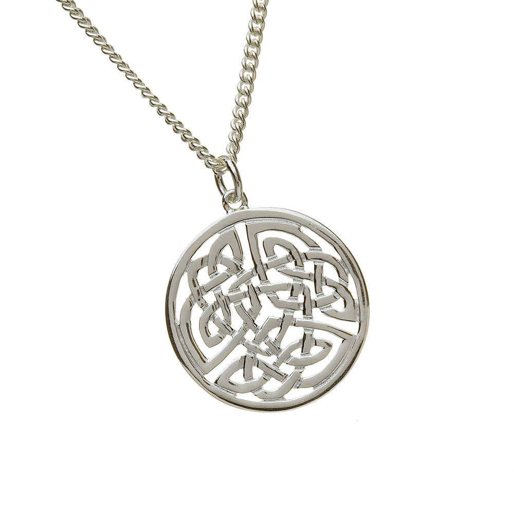 Silver Large Round Celtic Pendant