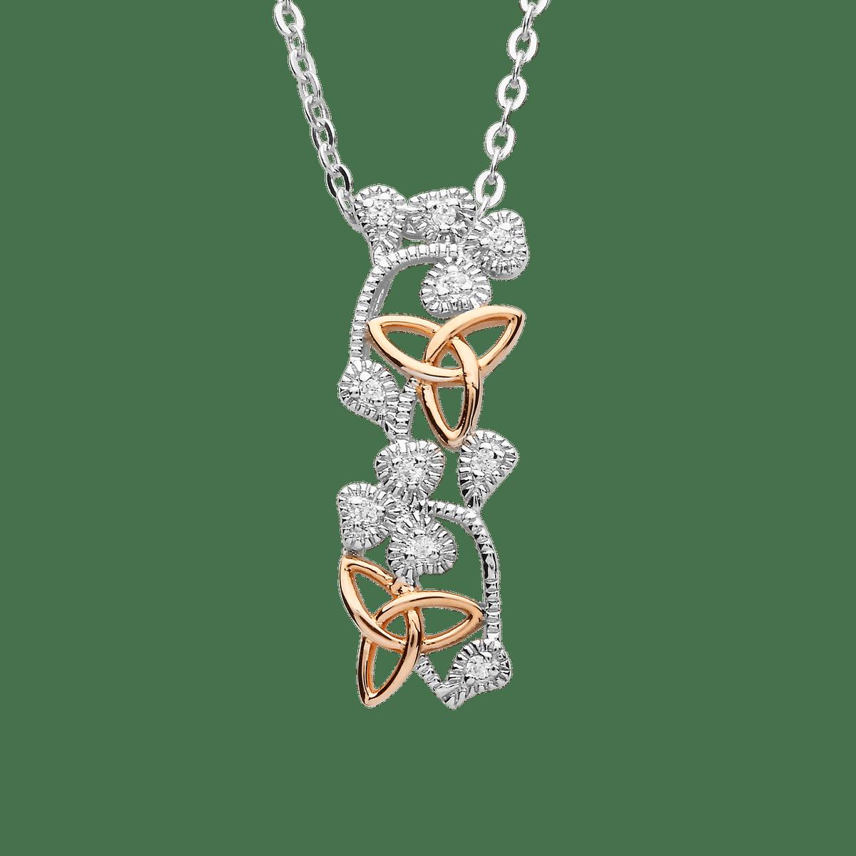 "S/silver Cz Shamrock Rose Gold Plated Trinity Knots Hugy Pendant 18"" Chain"