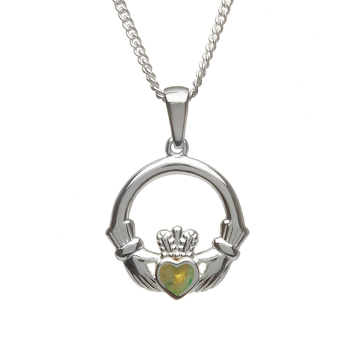 Silver Claddagh Pendant With Inset Marble