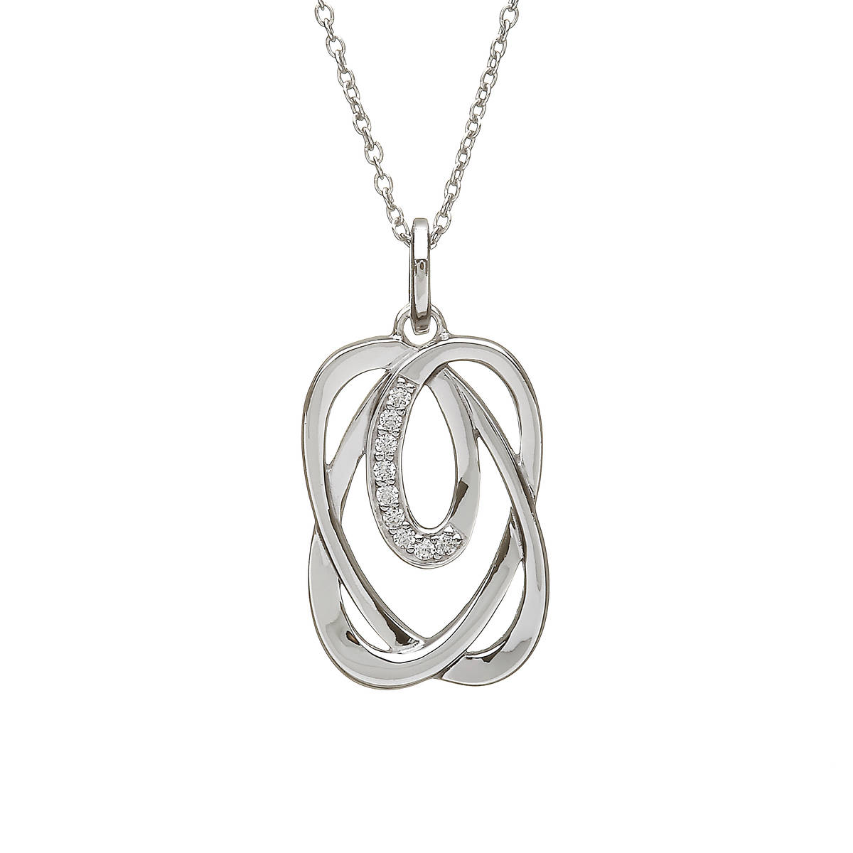 Silver Celtic Knot Pendant With Cz