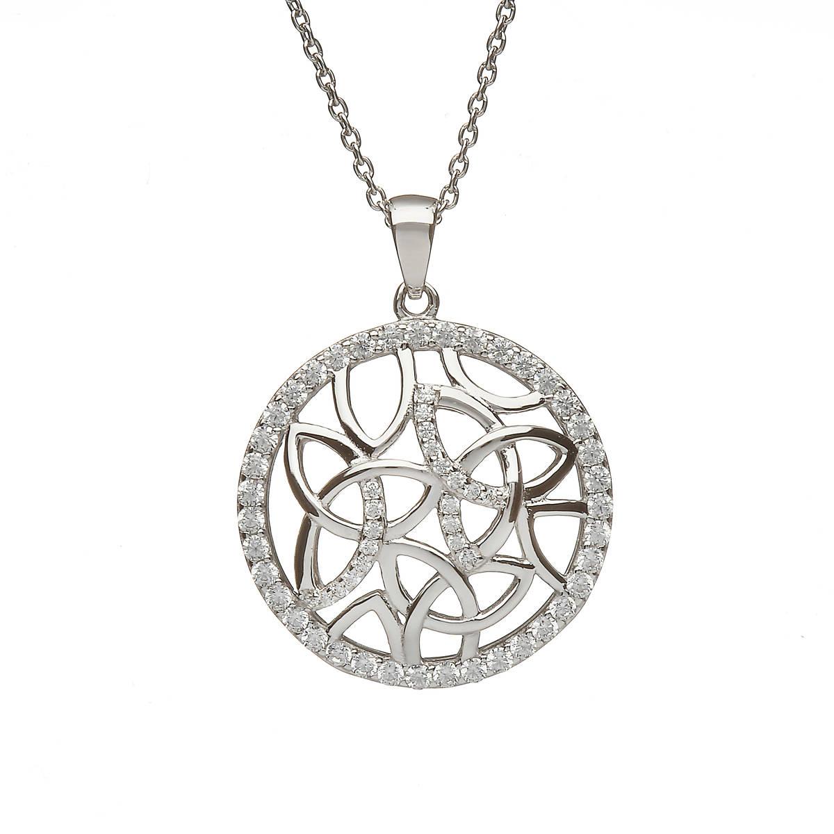 Silver Circular Trinity Knot Pendant