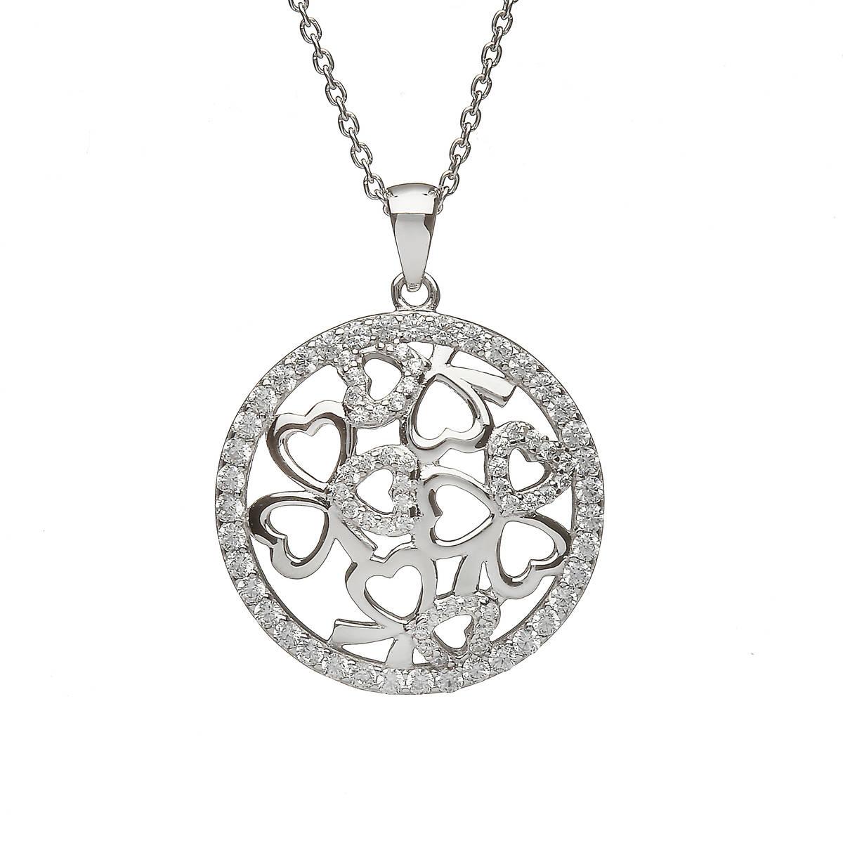 Sterling Silver Circular Shamrock Design Pendant Set With Cubic Zirconias