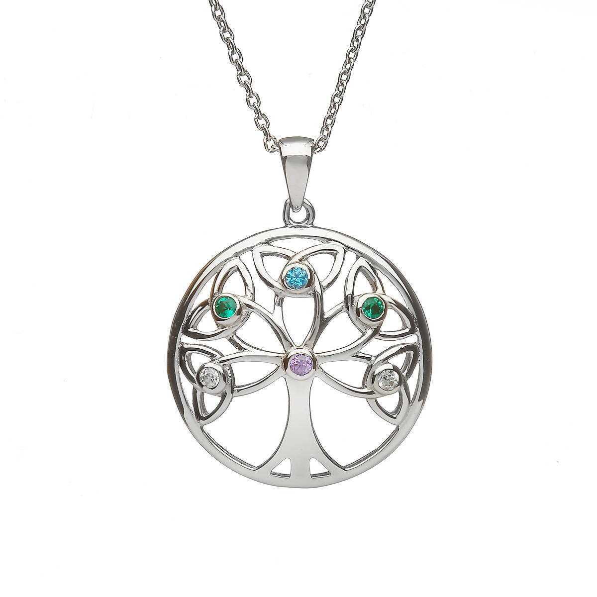 "Sterling Silver Circular Tree Of Life Design Pendant ""Colours Of The Irish Countryside"""