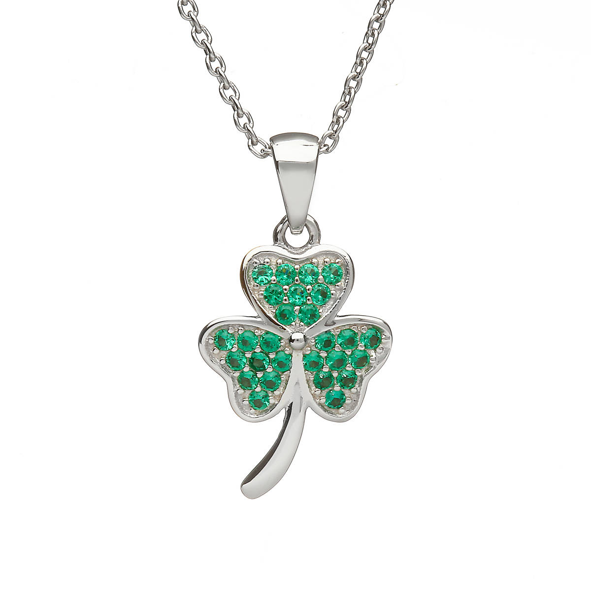 Silver Shamrock Pendant With Green Cz