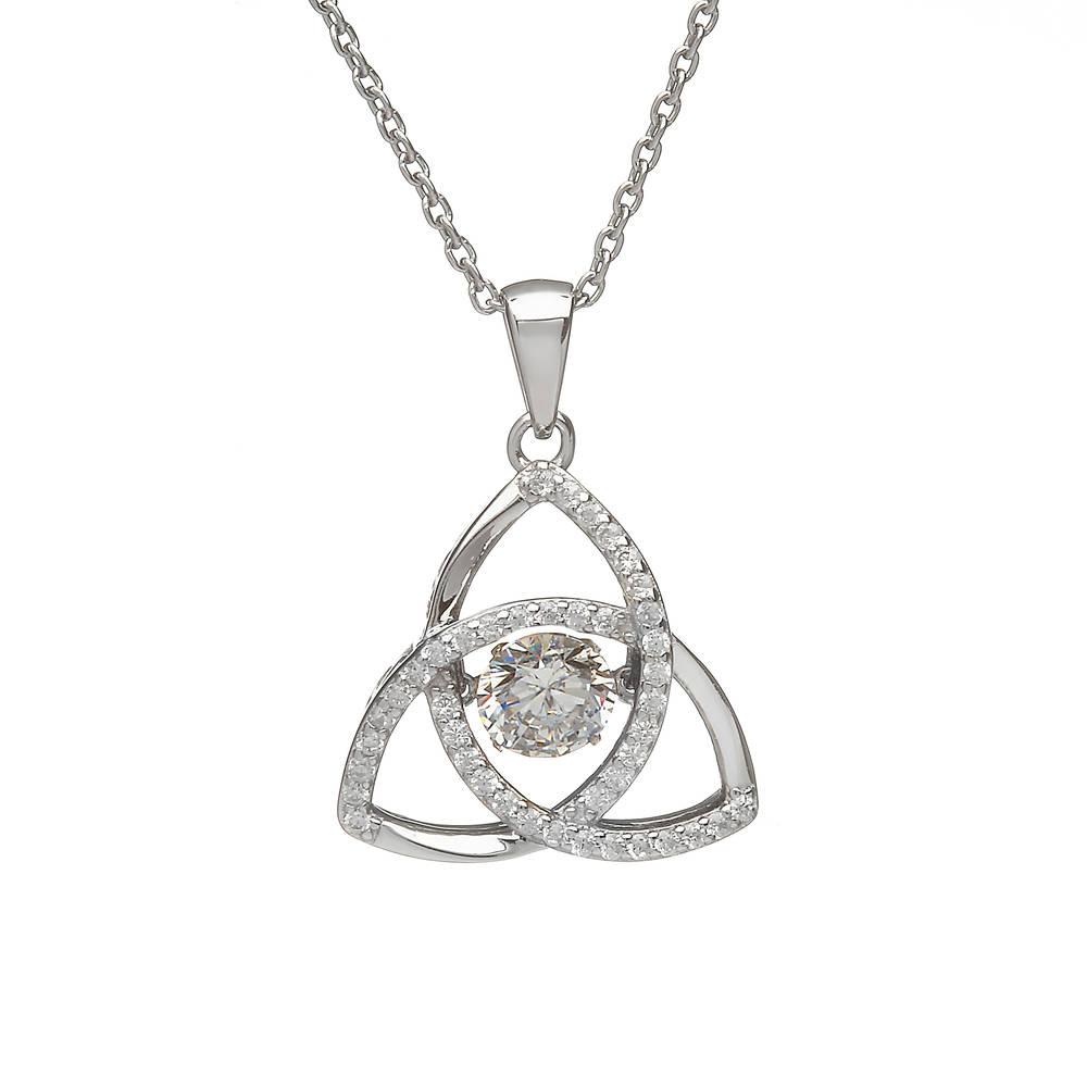 Silver Trinity Birthstone Pendant Cz