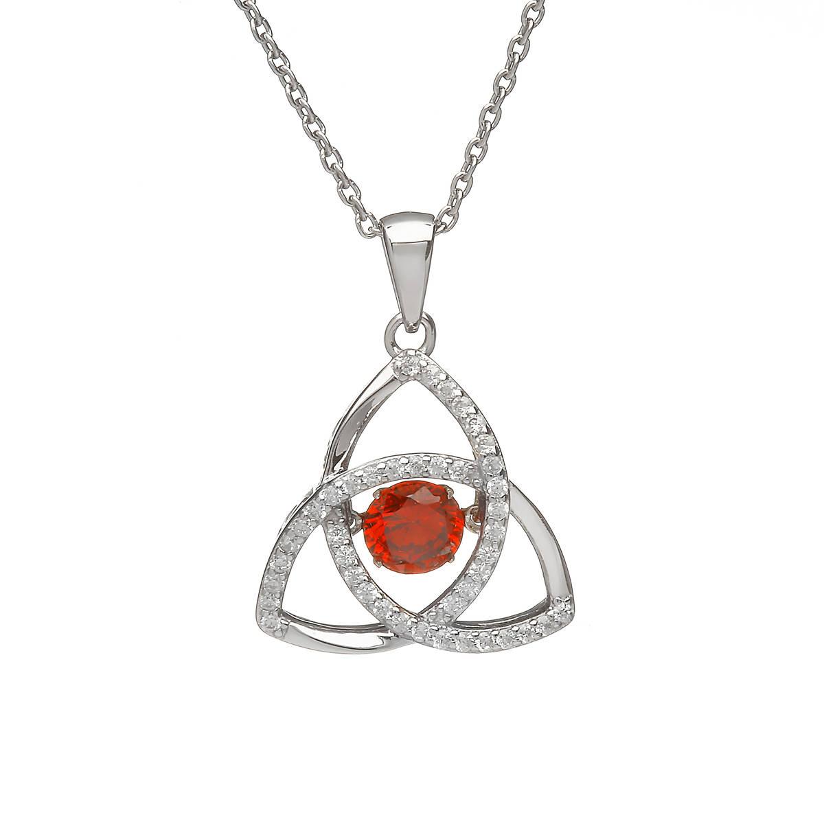 Silver Dancing Trinity Birthstone Pendant Garnet/cz