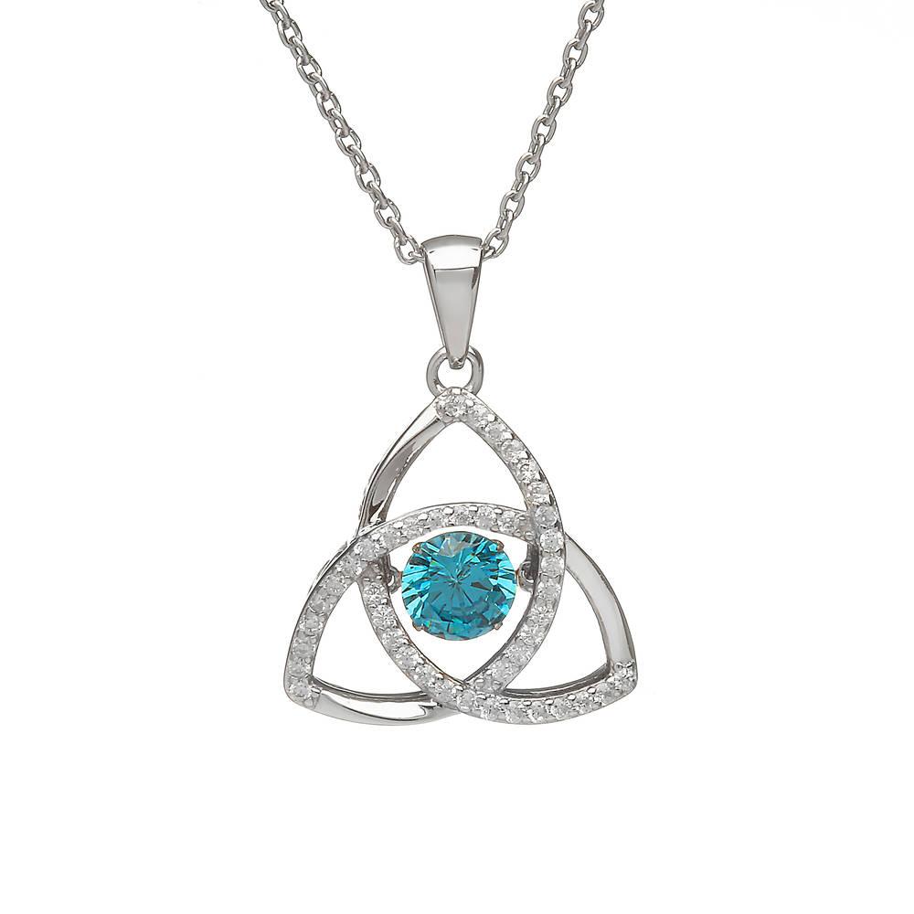 Silver Trinity Pendant Aqua/cz