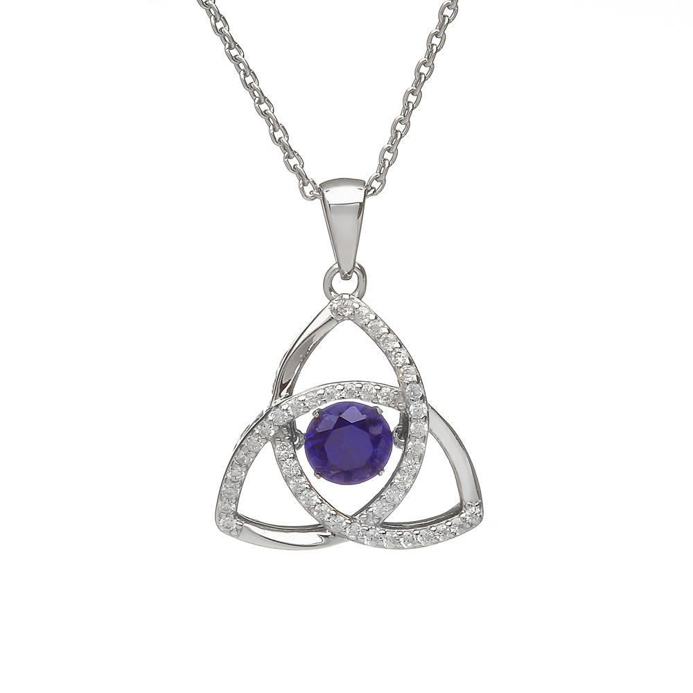 Silver Trinity Pendant Sapphire/cz