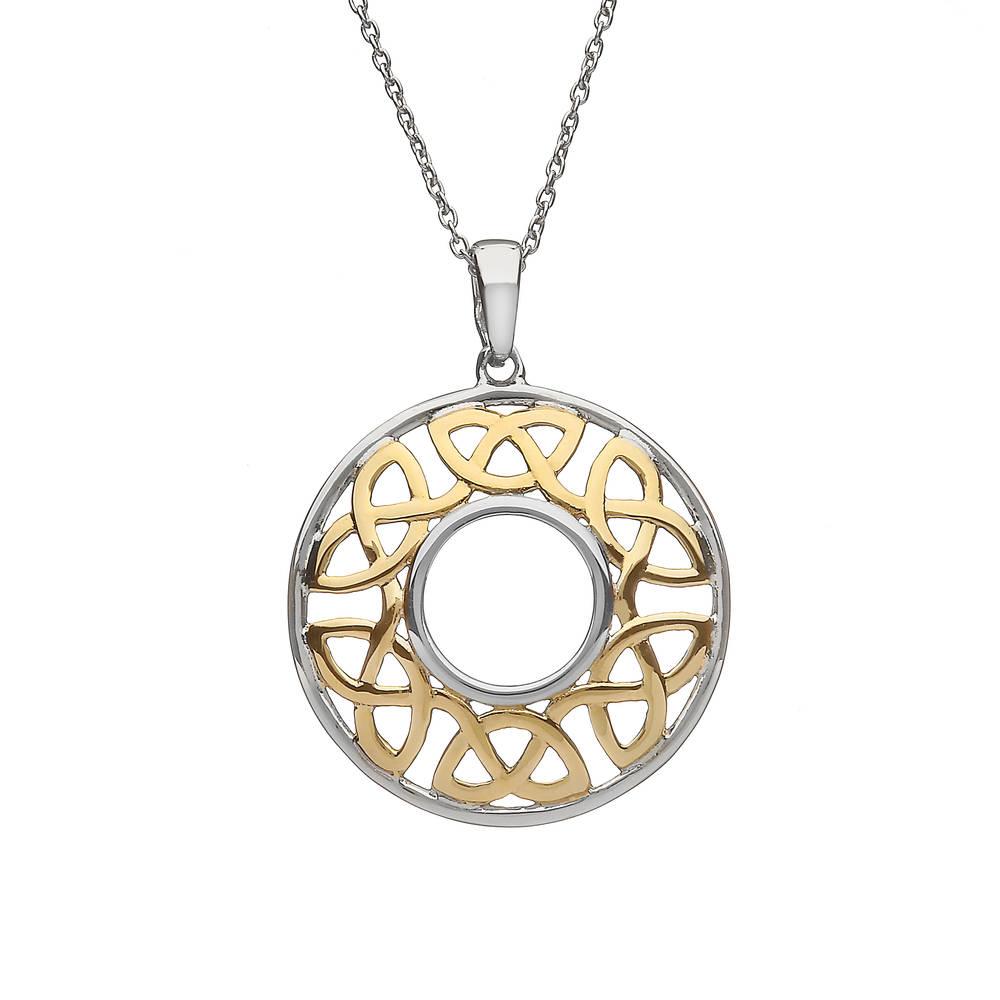 Silver/gp Open Celtic Round Pendant