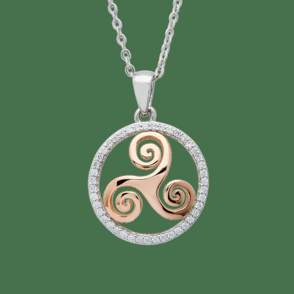 Silver Cz Newgrange Spiral Pendant