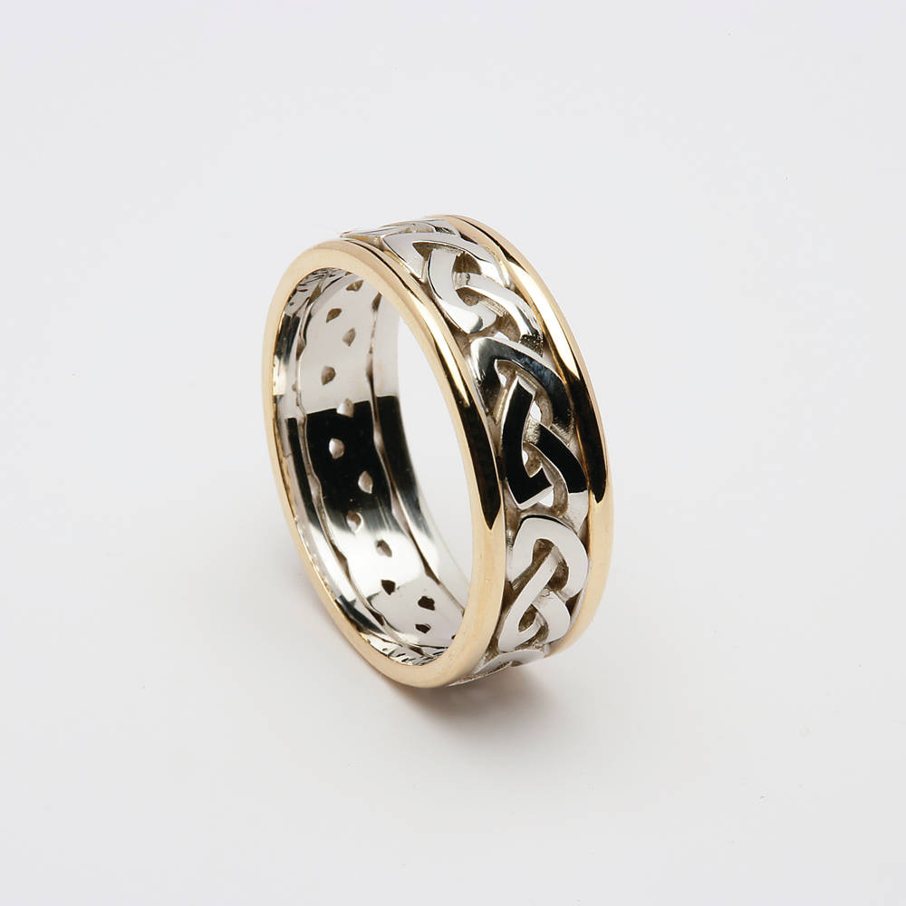 14 ct white knot band with yellow rims