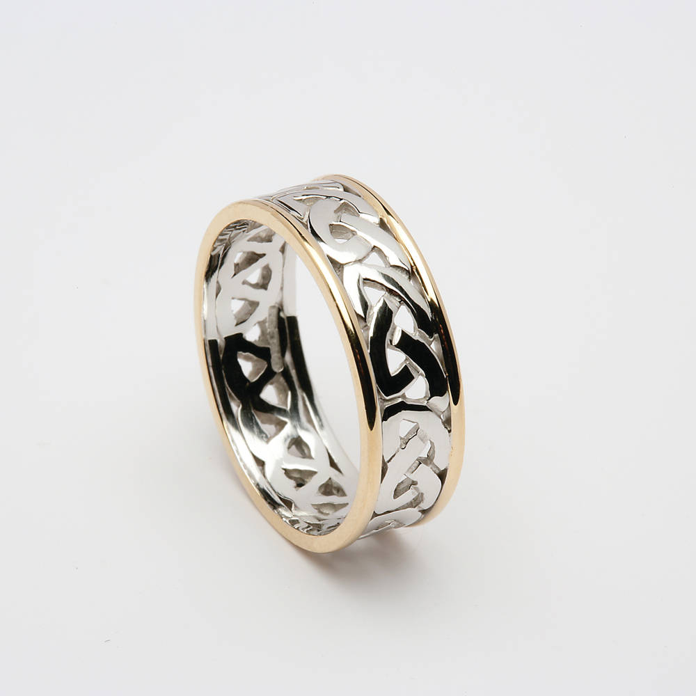 14 ct white gold open knot band with yellow rims