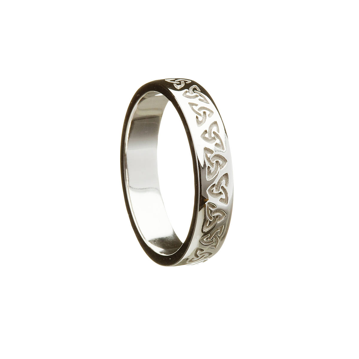 10 carat white gold man's etched trinity knot repeating design ring.Unique design will impress.If required in yellow gold or in rose gold, just leave a note in the comment box at the checkout page.