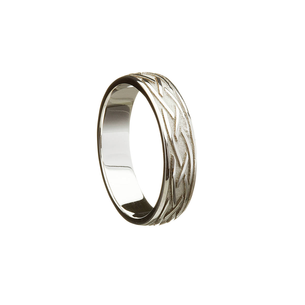 18 carat white gold man's three lines entwined open design wedding ring 5.6 mm wide approx.