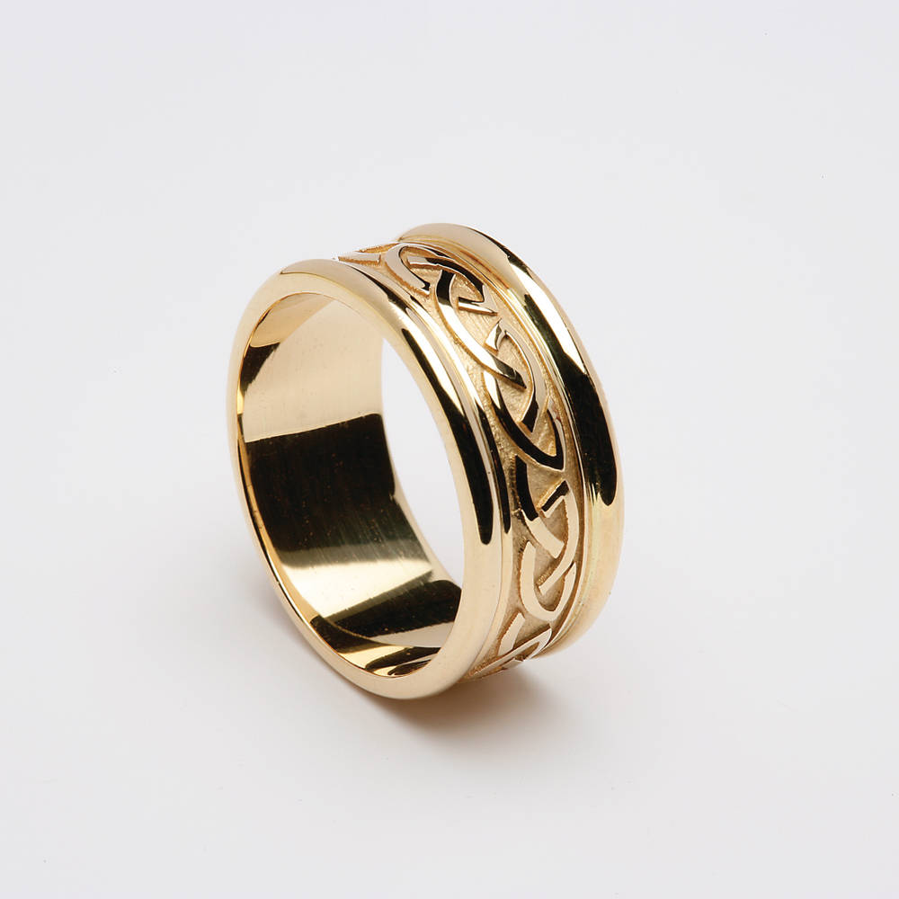 18 carat yellow gold man's Celtic love knot wedding ring