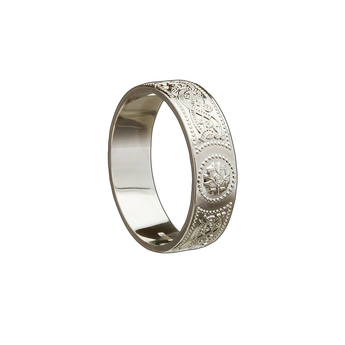 14 carat light white gold man'sArda chalice inspired 6.8mm approx.wide ring.A very practical everyday Celtic ring with great detail.