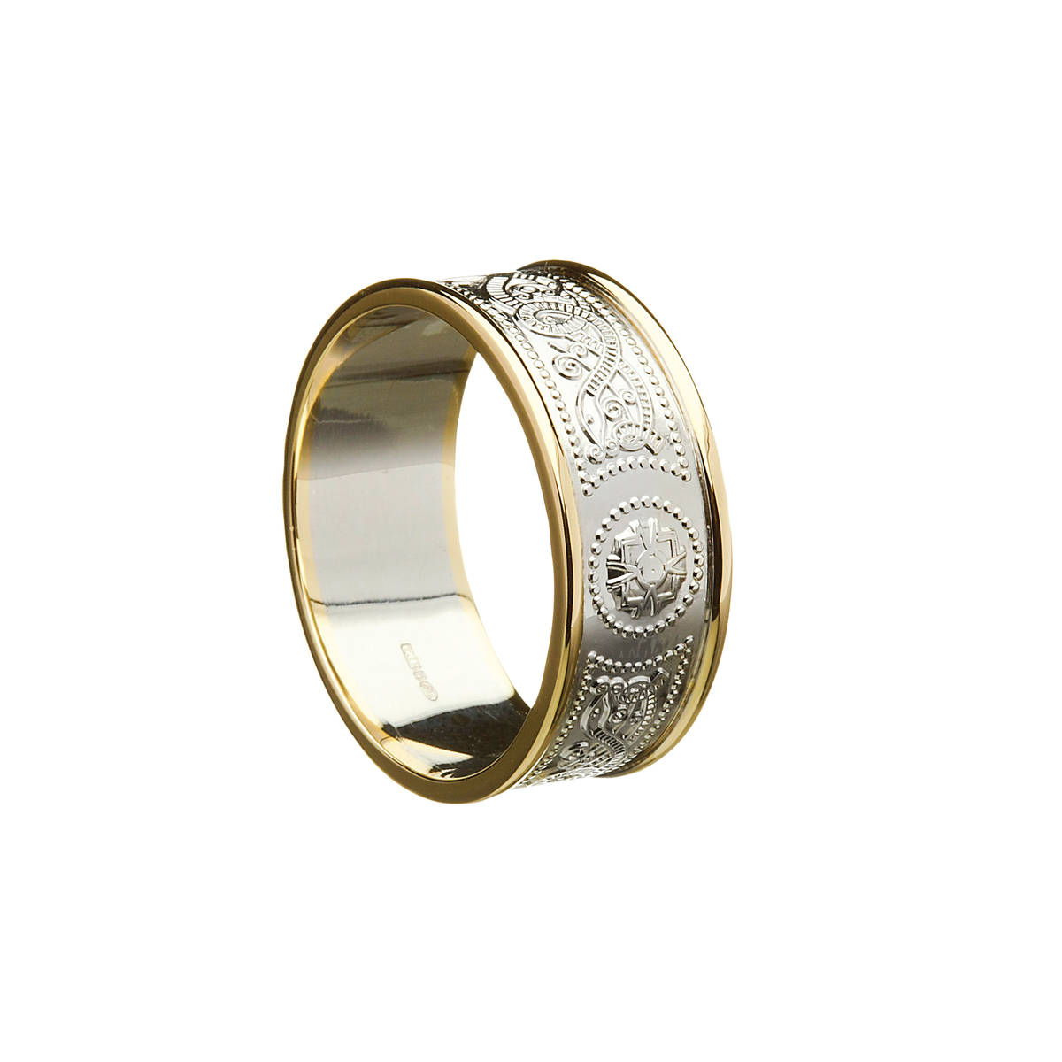 14 carat white man's Arda chalice inspired wedding ring with light 14 carat yellow rims9.2mm wideOne of my favourite designs.