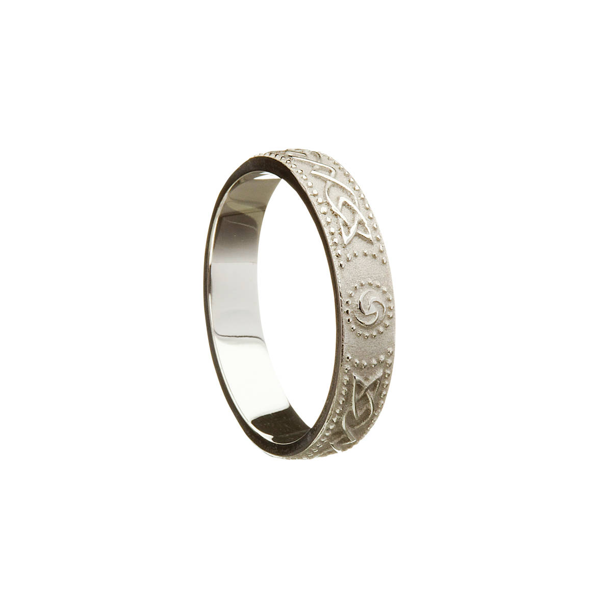 Platinum white man's Celtic warrior shield 4.9 mm wide approx. ring.Very practical everyday use ring with interesting detail.
