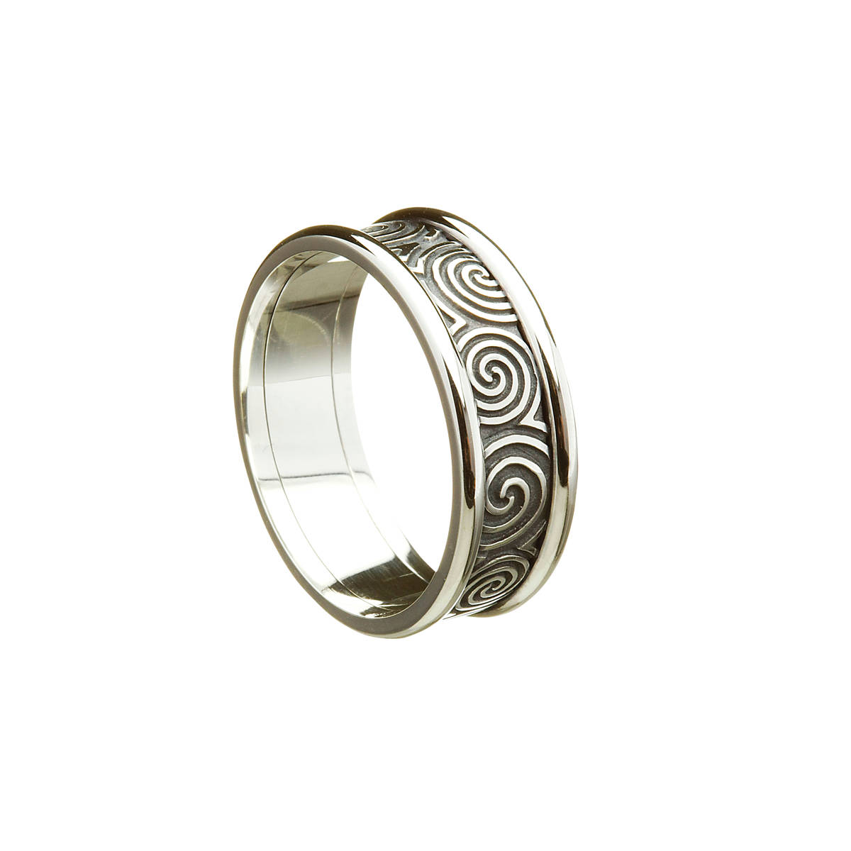 silver man's new grange inspired ring with heavy rims 7.8MMThis is the most ancient Celtic design going back 5000 years .