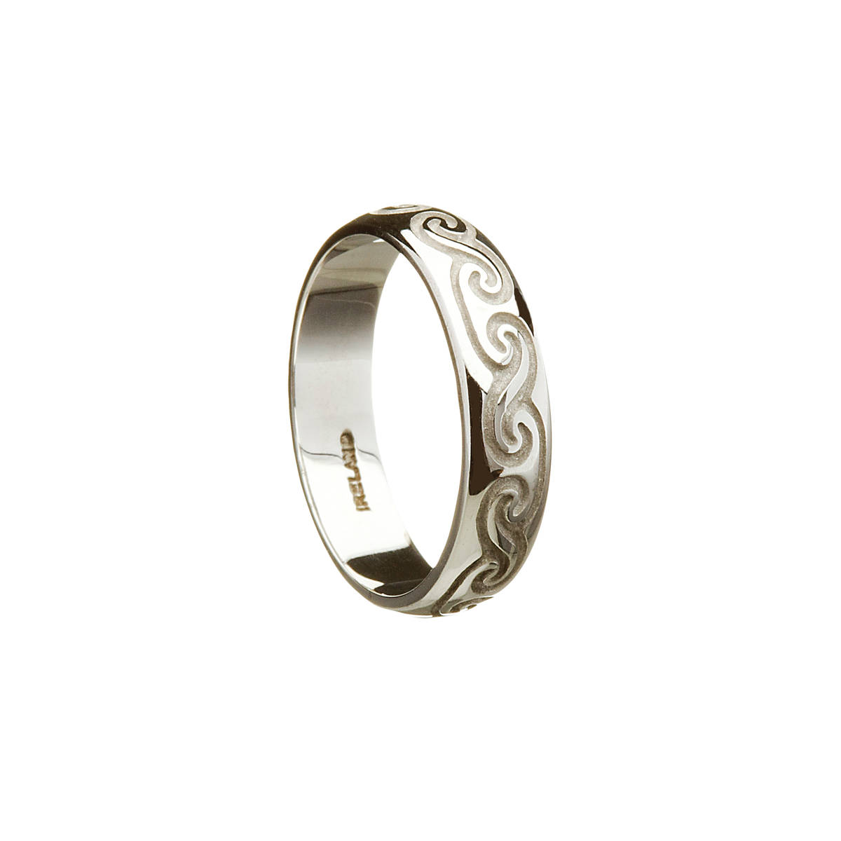 10 carat white gold unisex celtic scroll ring