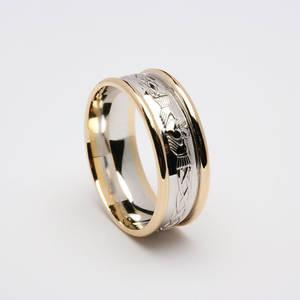 18 carat white gold man's Claddagh Celtic wedding ring
