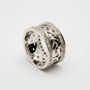 18 carat white gold lady's Celtic wedding ring with diamonds