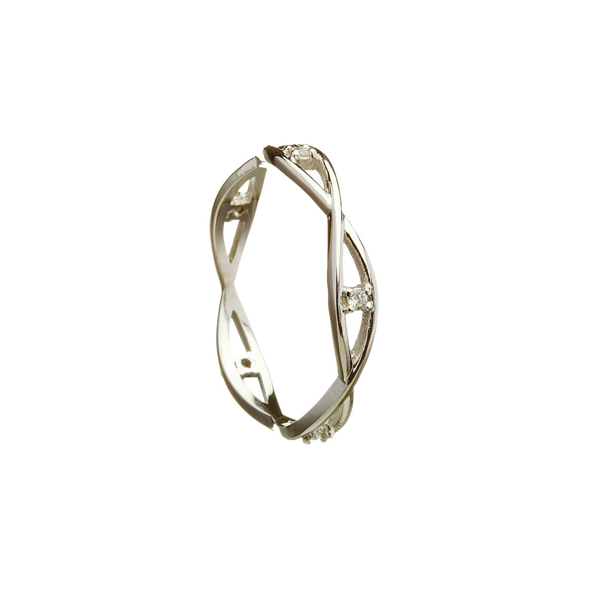 18 carat white gold lady's Celtic two lines entwined ring with diamonds(.08ct)