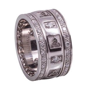 14 carat white gold lady's raised trinity knot wedding ring with 0.75 ct diamonds.