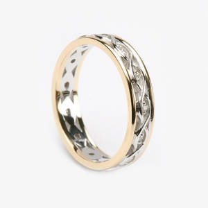 10 carat white gold lady's Celtic style two lines entwined wedding ring with light yellow gold rims and 0.10 ct weight diamonds.