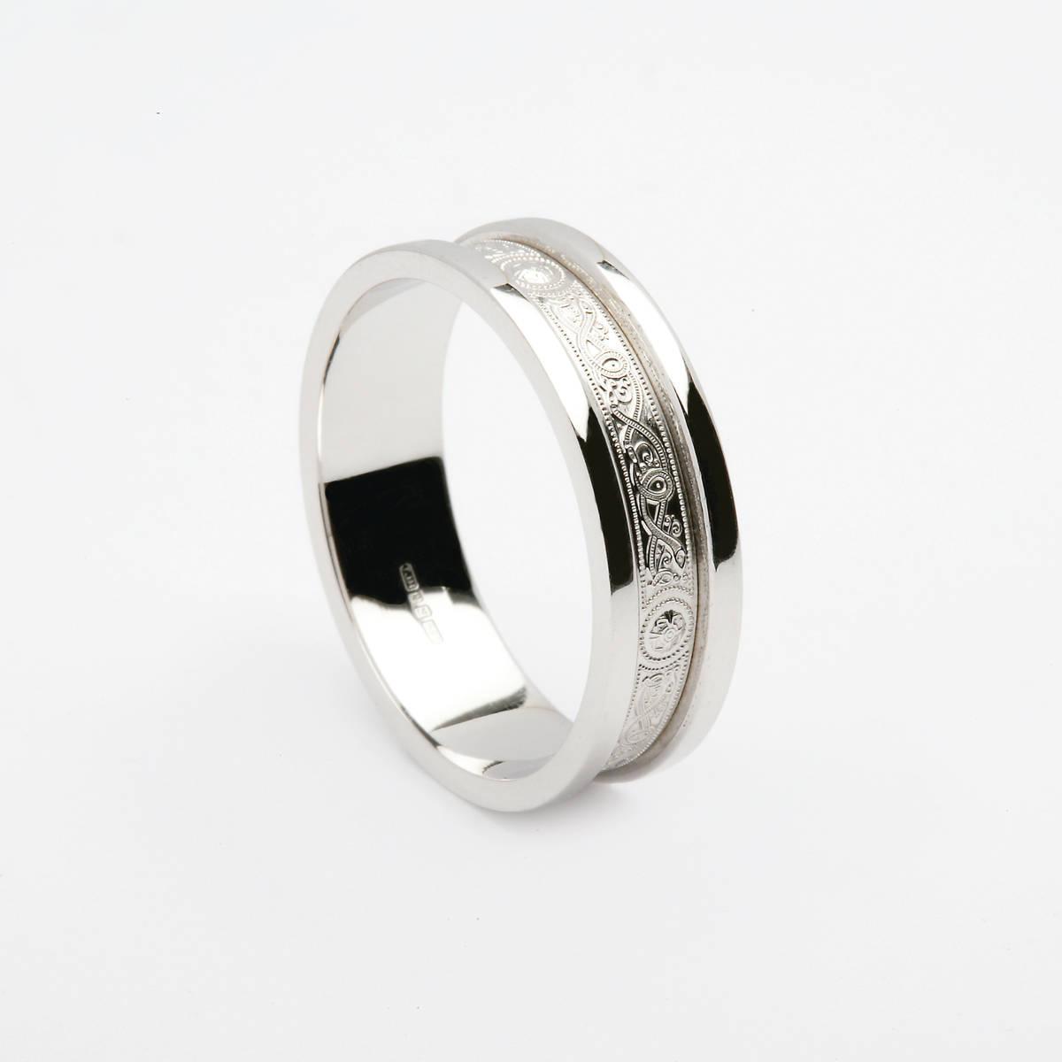 10 carat white gold Arda inspired unisex wedding ring with heavy flat rims 7.6mm
