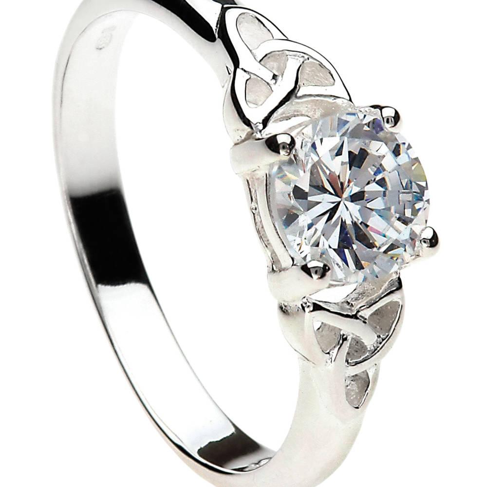 Silver cz trinity knot ring