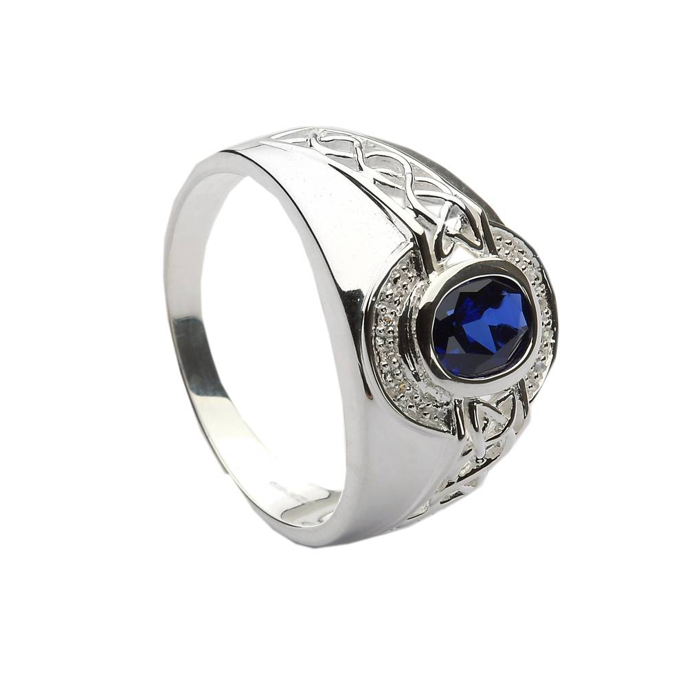 Silver celtic stone set ring