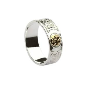 Silver Arda inspired ring with 14 carat yellow gold shield