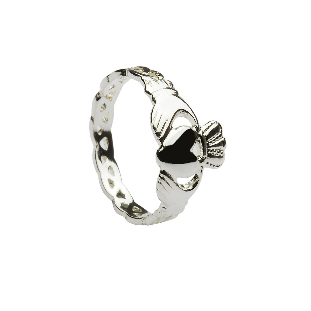 Silver classic claddagh ladies ring with celtic band