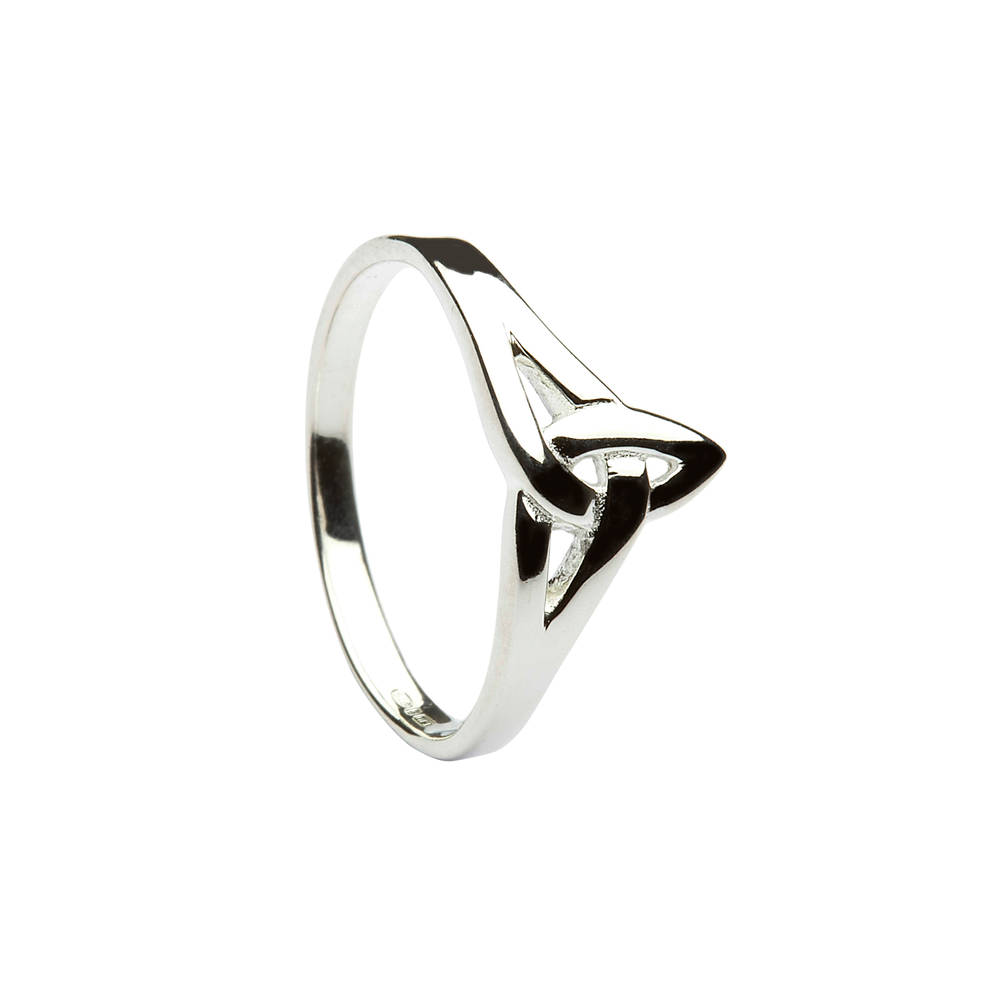 Silver classic trinity knot 'down the finger' ring