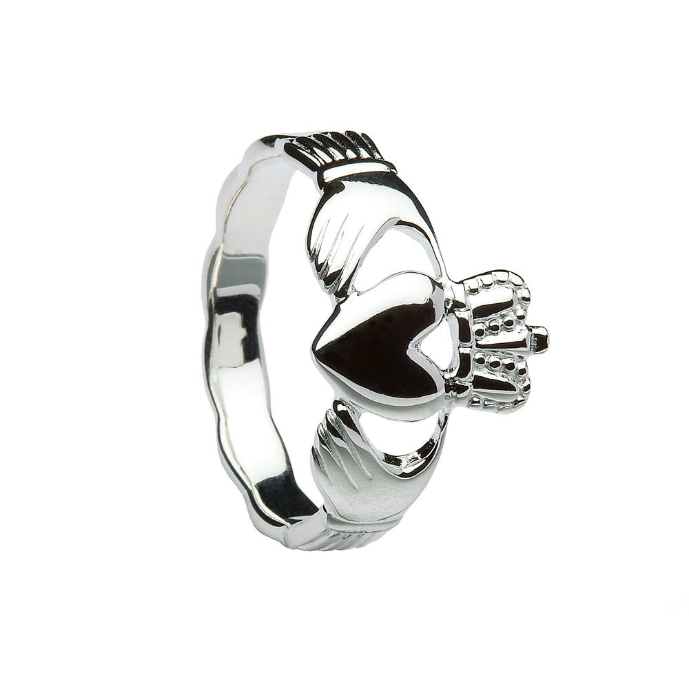 Silver ladies braided band claddagh ring