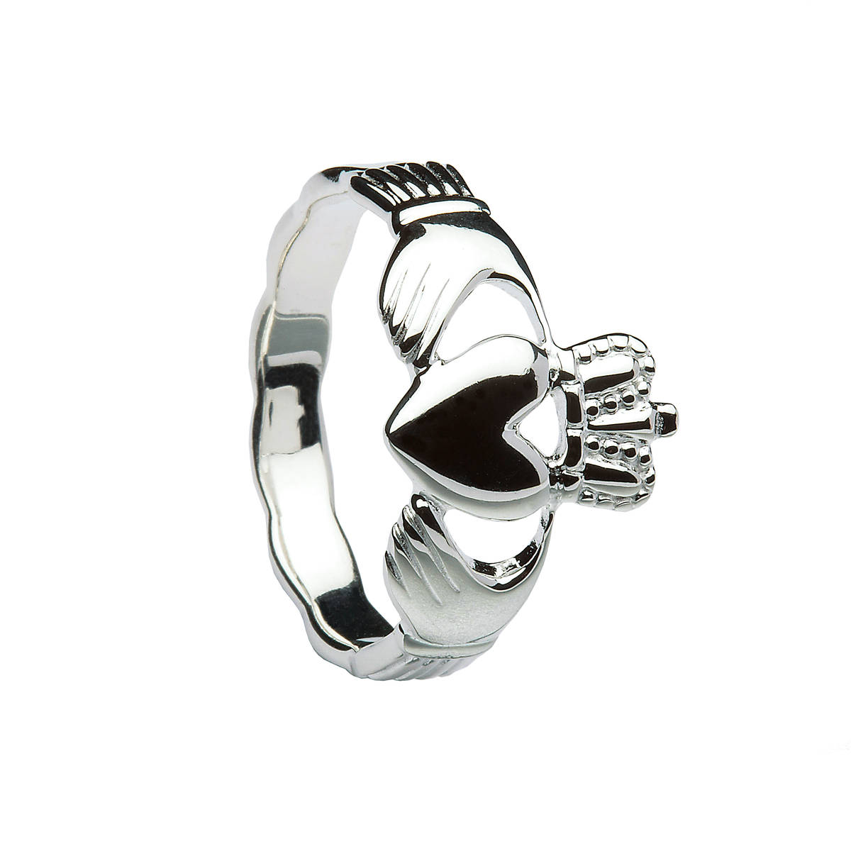Silver heavy Claddagh ring with braided band.