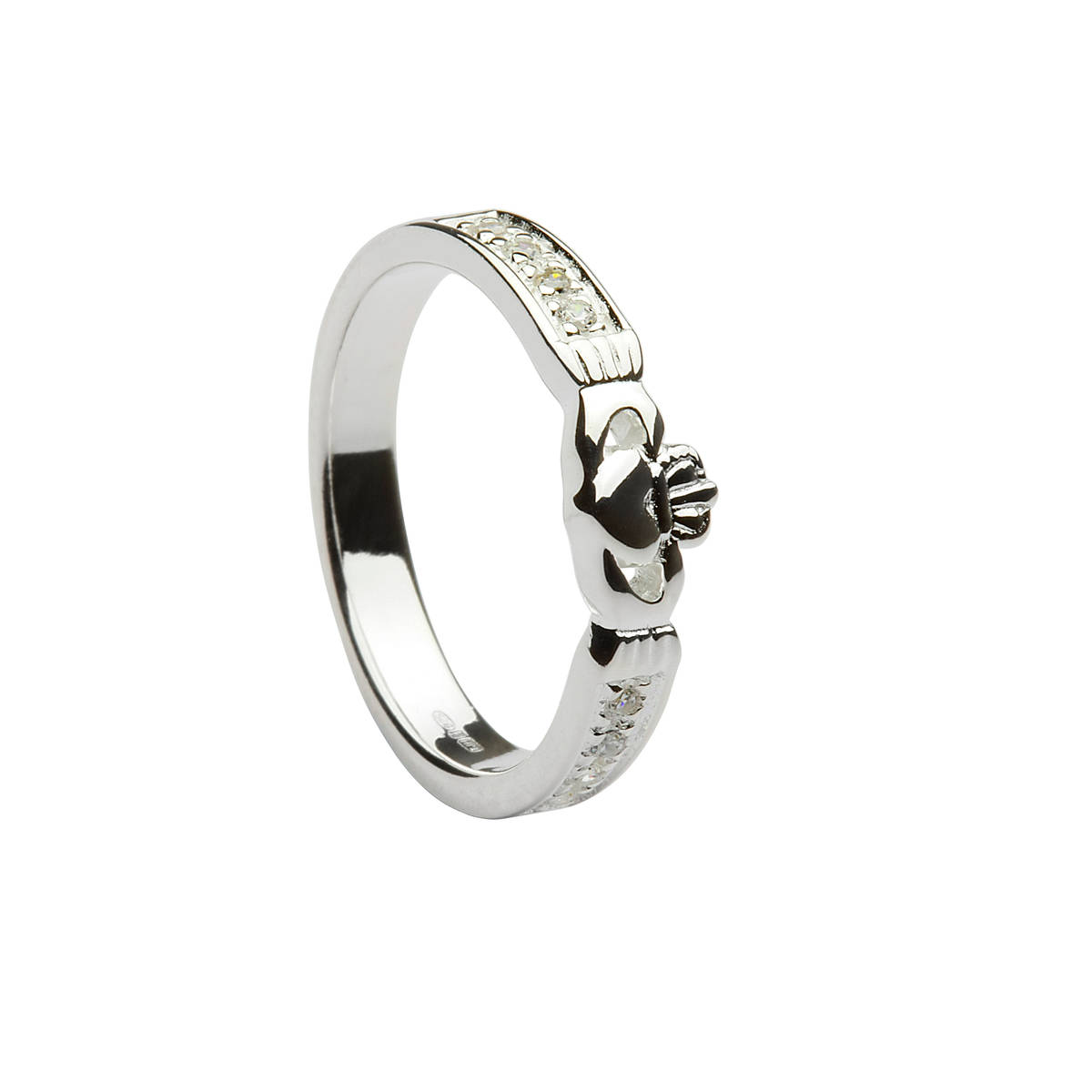Silver CZ set Claddagh ring.Most unusual style.