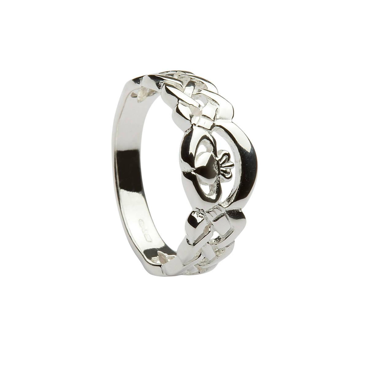 Silver NUA celtic claddagh ring.