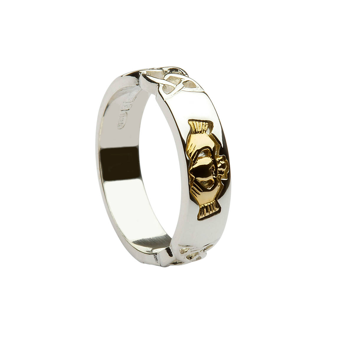 Silver ladies ring with celtic shoulders and 14 carat gold claddagh inlaid.