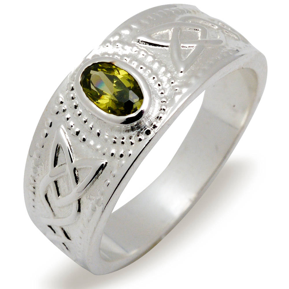 Silver ladies contemporary stone set ring