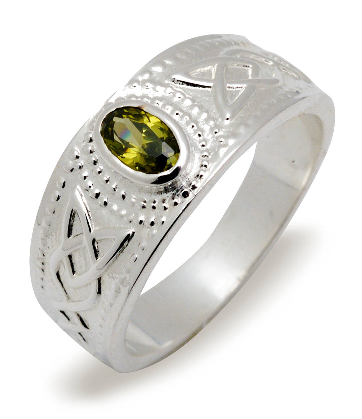Silver contemporary design celtic stone set dress ring