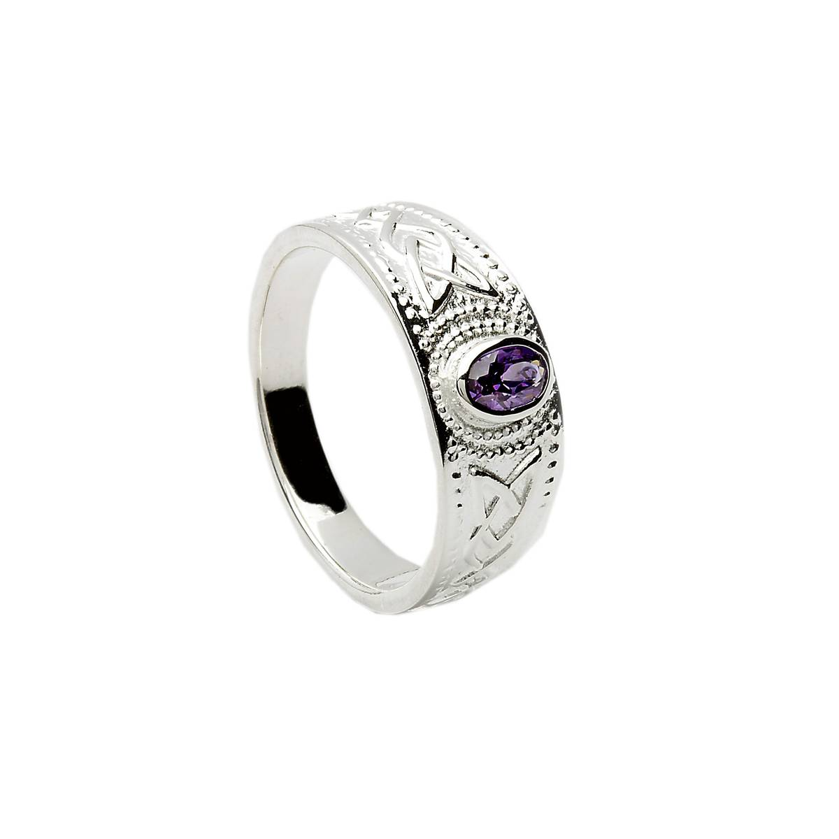 Silver man's olivine set contemporary celtic design ring