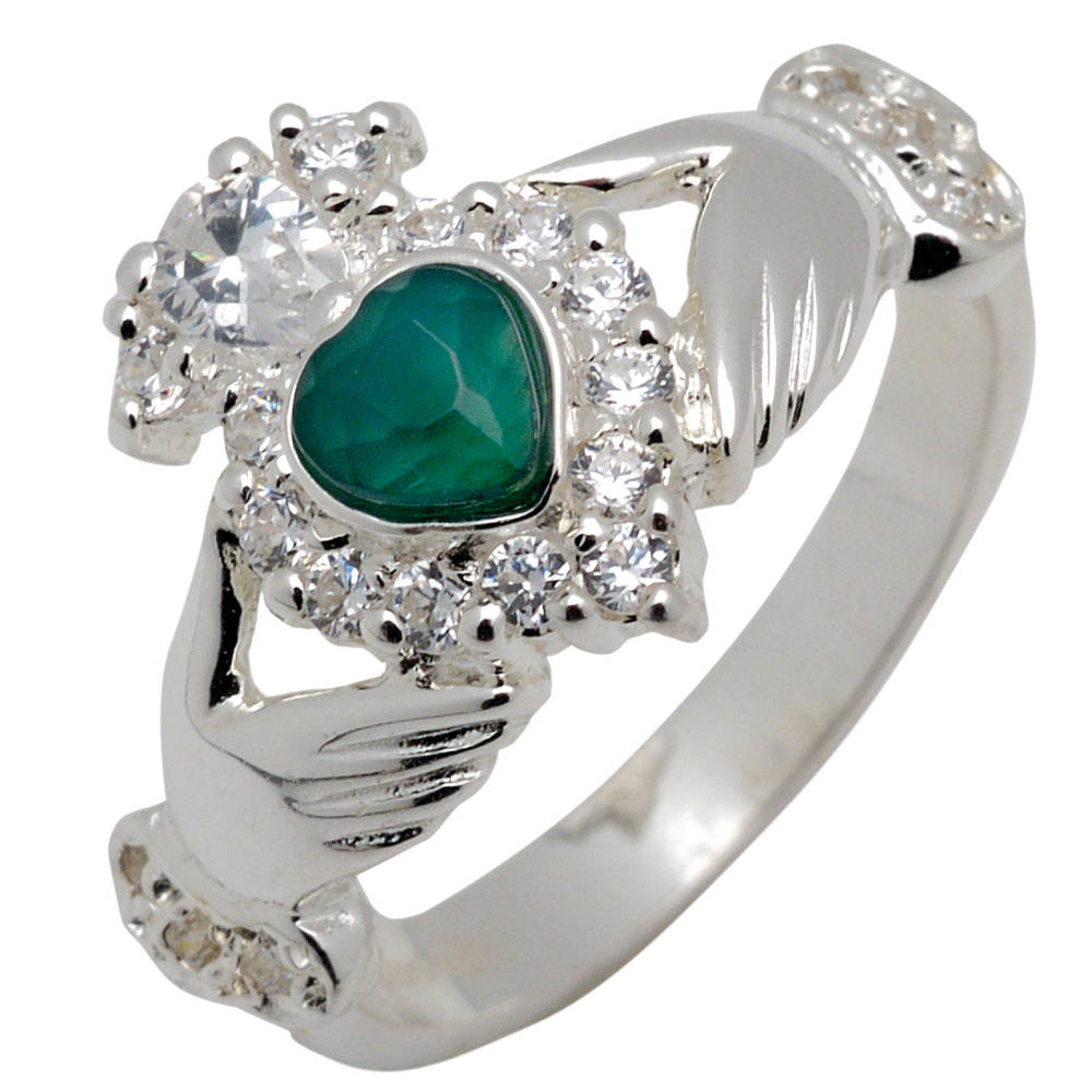 Silver claddagh ring with heart agate and CZ setting